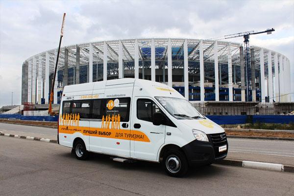 Автобус ГАЗель НЕКСТ у строящегося стадиона в Нижнем Новгороде